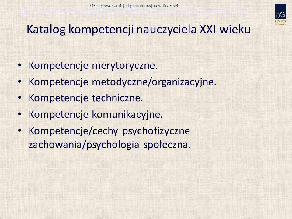 Okręgowa Komisja Egzaminacyjna w Krakowie Katalog kompetencji nauczyciela XXI wieku Kompetencje merytoryczne.