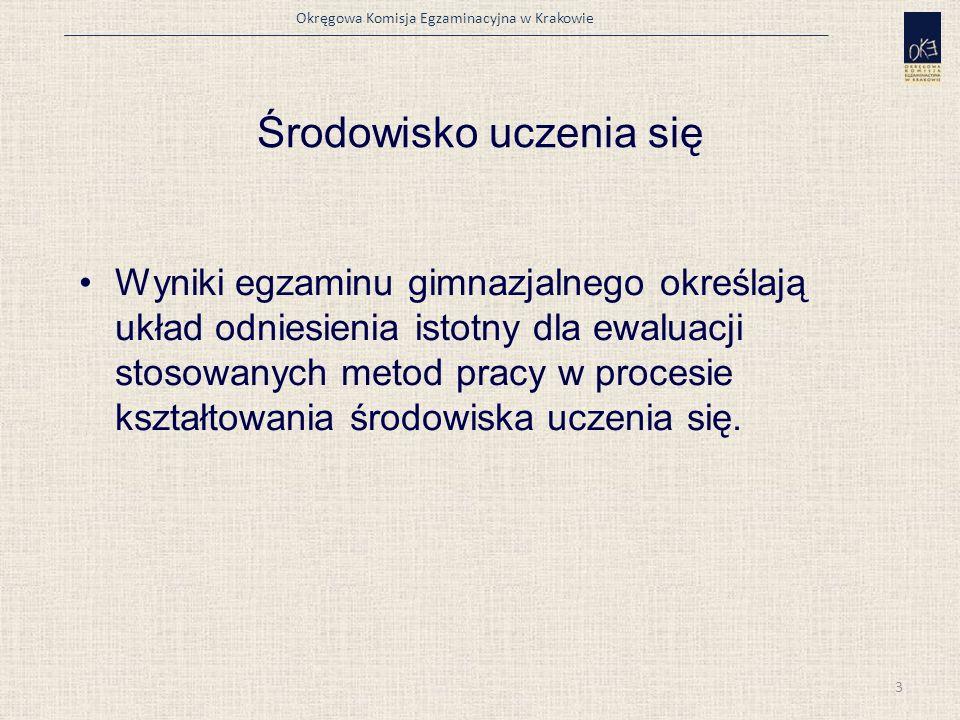 Okręgowa Komisja Egzaminacyjna w Krakowie Środowisko uczenia się Wyniki egzaminu gimnazjalnego określają układ odniesienia istotny dla ewaluacji stosowanych metod pracy w procesie kształtowania środowiska uczenia się.