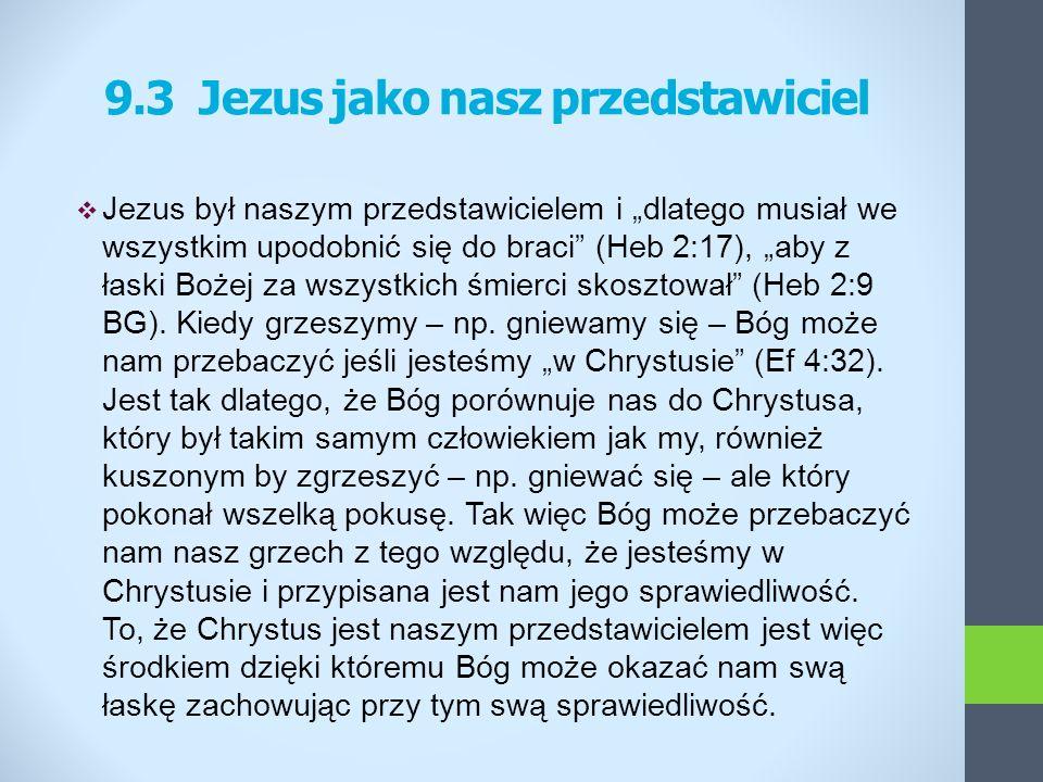 Jezus był naszym przedstawicielem i dlatego musiał we wszystkim upodobnić się do braci (Heb 2:17), aby z łaski Bożej za wszystkich śmierci skosztował