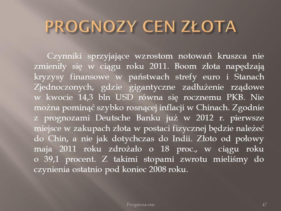 Czynniki sprzyjające wzrostom notowań kruszca nie zmieniły się w ciągu roku 2011. Boom złota napędzają kryzysy finansowe w państwach strefy euro i Sta