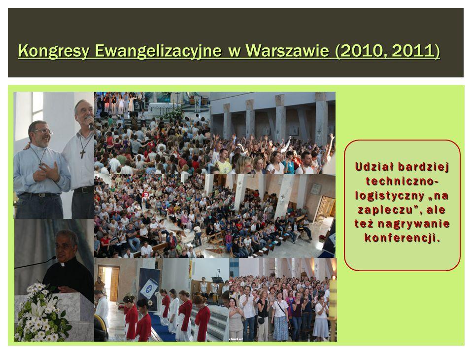 Kongresy Ewangelizacyjne w Warszawie (2010, 2011) Udział bardziej techniczno- logistyczny na zapleczu, ale też nagrywanie konferencji.