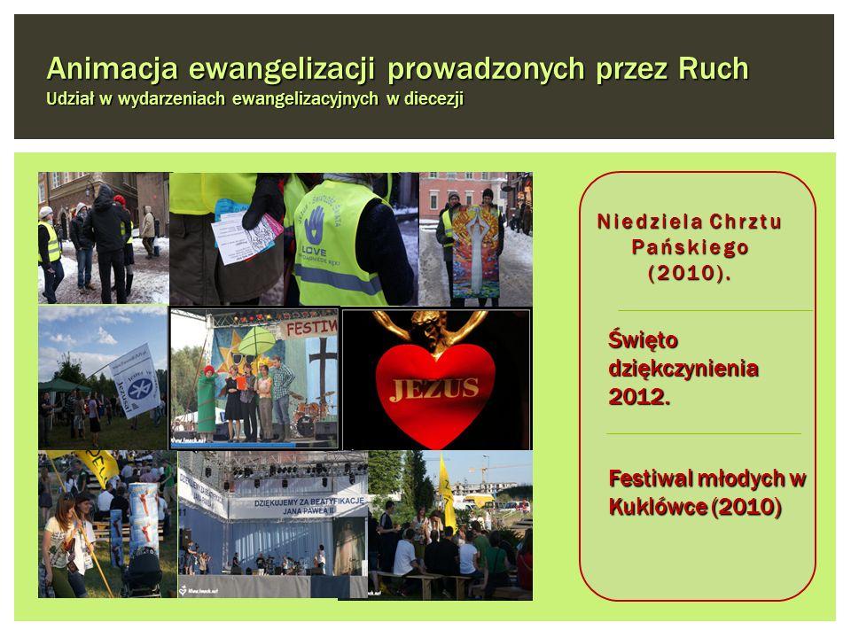 Święto dziękczynienia 2012. Festiwal młodych w Kuklówce (2010) Niedziela Chrztu Pańskiego (2010). Animacja ewangelizacji prowadzonych przez Ruch Udzia