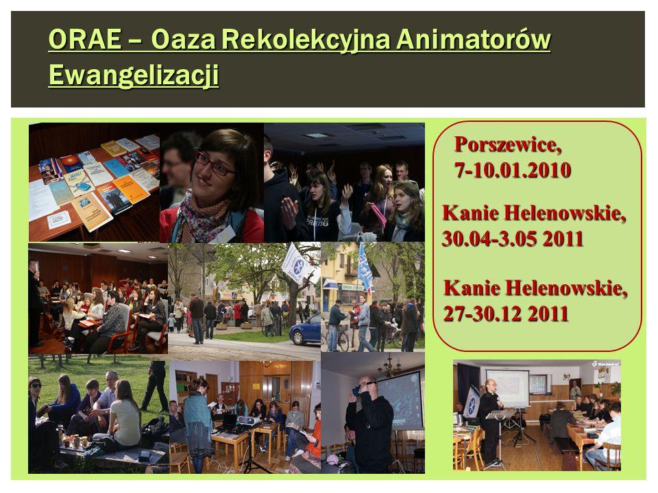 Kanie Helenowskie, 30.04-3.05 2011 Porszewice, 7-10.01.2010 ORAE – Oaza Rekolekcyjna Animatorów Ewangelizacji Kanie Helenowskie, 27-30.12 2011