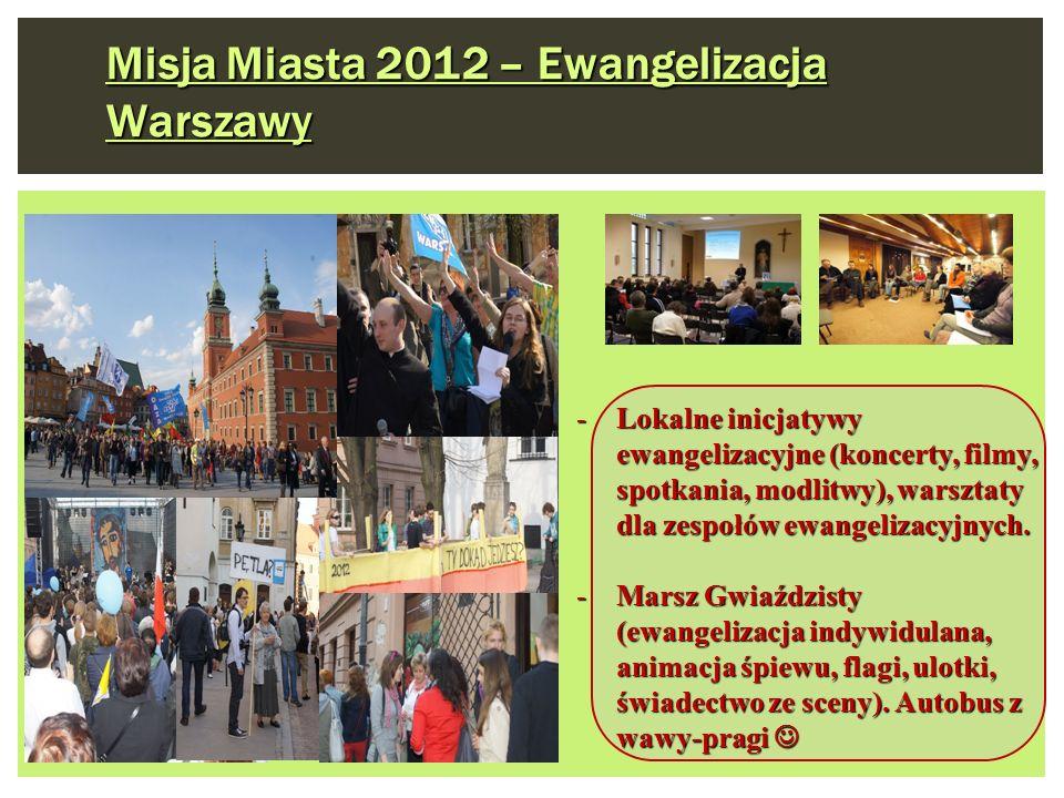 Misja Miasta 2012 – Ewangelizacja Warszawy -Lokalne inicjatywy ewangelizacyjne (koncerty, filmy, spotkania, modlitwy), warsztaty dla zespołów ewangeli