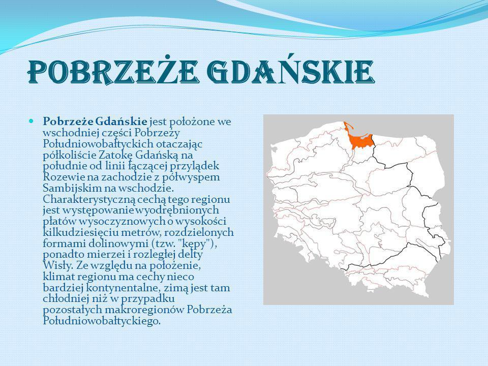 POBRZE Ż E GDA Ń SKIE Pobrzeże Gdańskie jest położone we wschodniej części Pobrzeży Południowobałtyckich otaczając półkoliście Zatokę Gdańską na połud