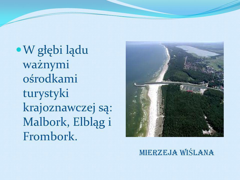 W głębi lądu ważnymi ośrodkami turystyki krajoznawczej są: Malbork, Elbląg i Frombork. MIERZEJA WI Ś LANA