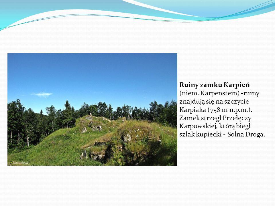 Ruiny zamku Karpień (niem. Karpenstein) -ruiny znajdują się na szczycie Karpiaka (758 m n.p.m.). Zamek strzegł Przełęczy Karpowskiej, którą biegł szla