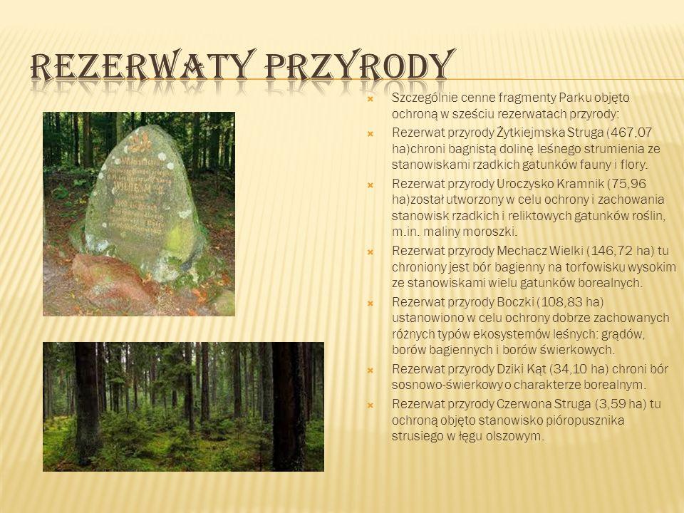 Szczególnie cenne fragmenty Parku objęto ochroną w sześciu rezerwatach przyrody: Rezerwat przyrody Żytkiejmska Struga (467,07 ha)chroni bagnistą dolin
