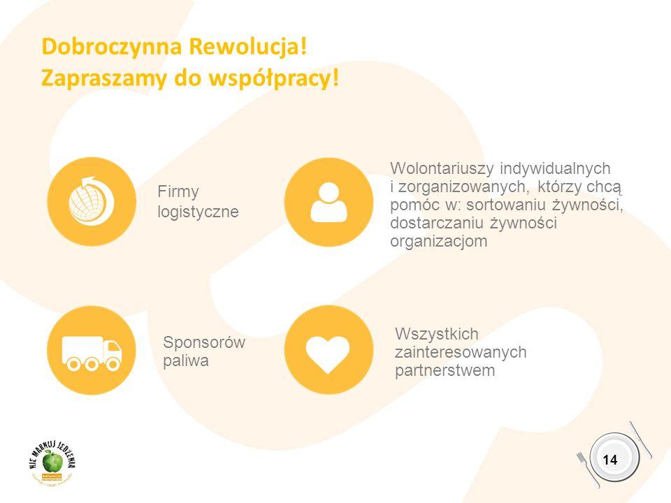 Dobroczynna Rewolucja! Zapraszamy do współpracy! 14 Firmy logistyczne Sponsorów paliwa Wolontariuszy indywidualnych i zorganizowanych, którzy chcą pom