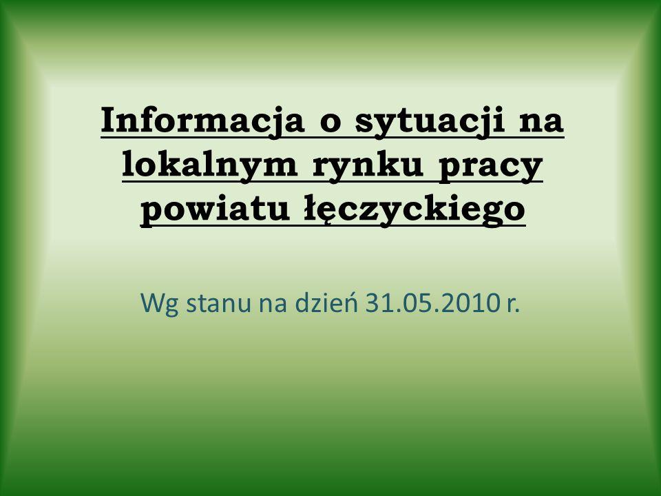 Informacja o sytuacji na lokalnym rynku pracy powiatu łęczyckiego Wg stanu na dzień 31.05.2010 r.