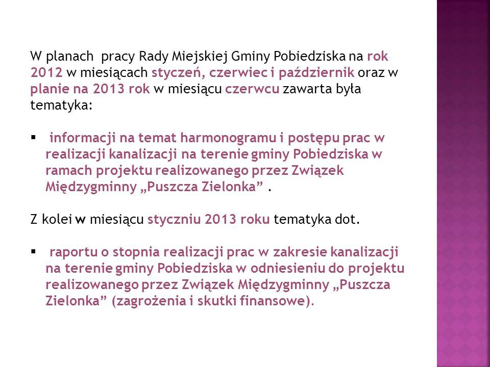 W planach pracy Rady Miejskiej Gminy Pobiedziska na rok 2012 w miesiącach styczeń, czerwiec i październik oraz w planie na 2013 rok w miesiącu czerwcu