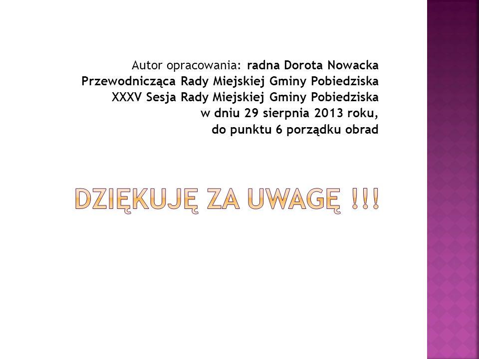 Autor opracowania: radna Dorota Nowacka Przewodnicząca Rady Miejskiej Gminy Pobiedziska XXXV Sesja Rady Miejskiej Gminy Pobiedziska w dniu 29 sierpnia