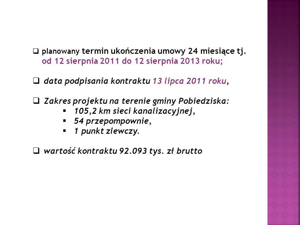 planowany termin ukończenia umowy 24 miesiące tj. od 12 sierpnia 2011 do 12 sierpnia 2013 roku; data podpisania kontraktu 13 lipca 2011 roku, Zakres p