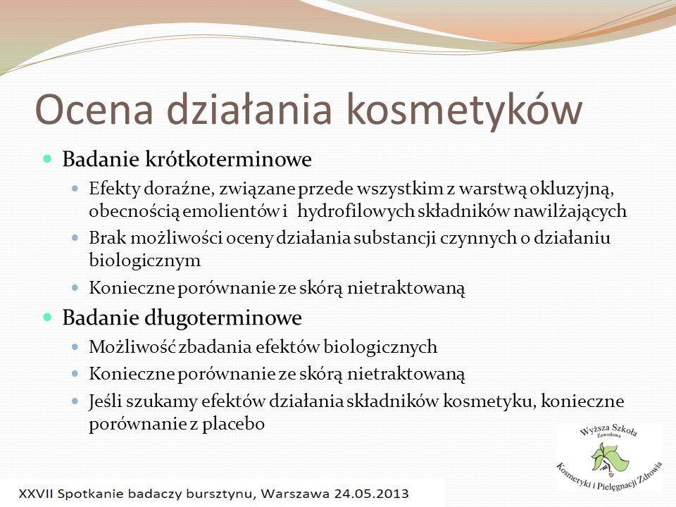 Ocena działania kosmetyków Badanie krótkoterminowe Efekty doraźne, związane przede wszystkim z warstwą okluzyjną, obecnością emolientów i hydrofilowyc