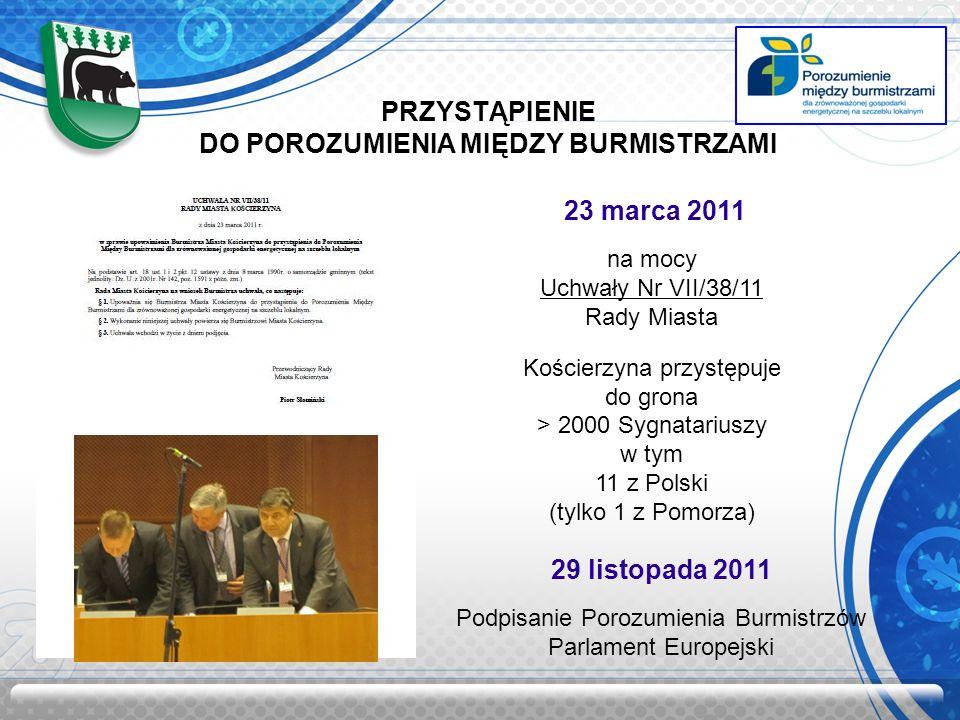 PRZYSTĄPIENIE DO POROZUMIENIA MIĘDZY BURMISTRZAMI 23 marca 2011 na mocy Uchwały Nr VII/38/11 Rady Miasta Kościerzyna przystępuje do grona > 2000 Sygnatariuszy w tym 11 z Polski (tylko 1 z Pomorza) 29 listopada 2011 Podpisanie Porozumienia Burmistrzów Parlament Europejski