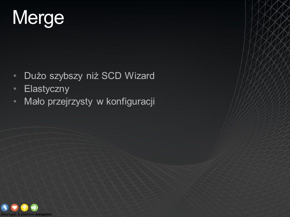 Merge Dużo szybszy niż SCD Wizard Elastyczny Mało przejrzysty w konfiguracji