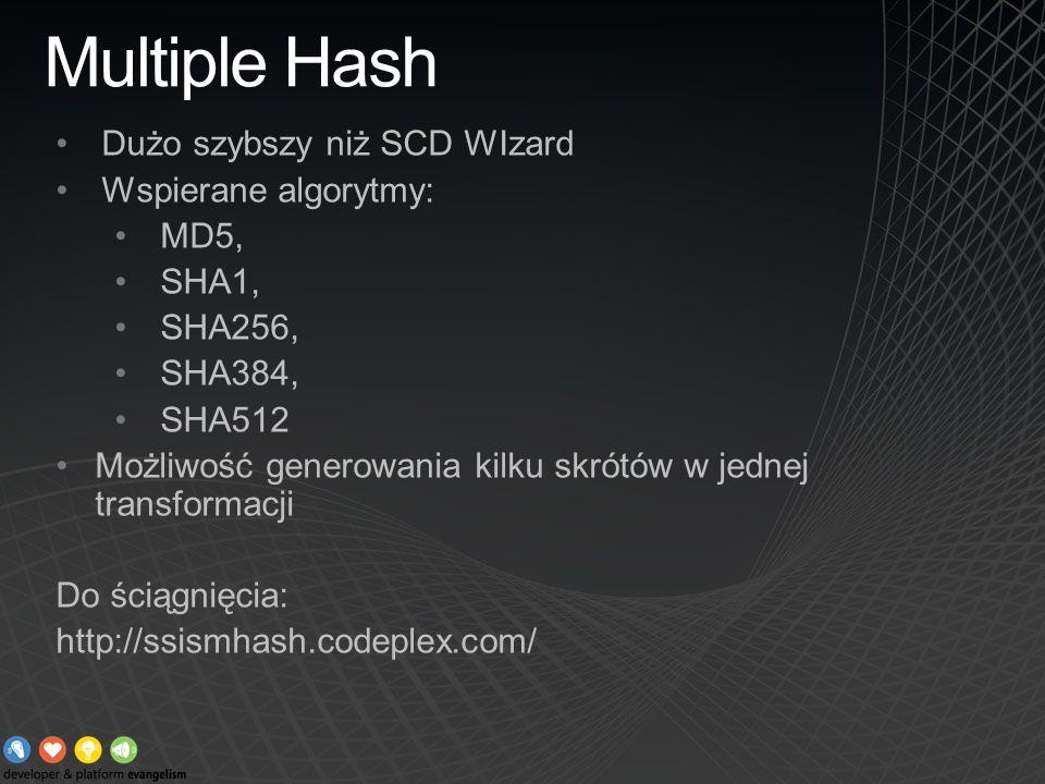 Multiple Hash Dużo szybszy niż SCD WIzard Wspierane algorytmy: MD5, SHA1, SHA256, SHA384, SHA512 Możliwość generowania kilku skrótów w jednej transfor