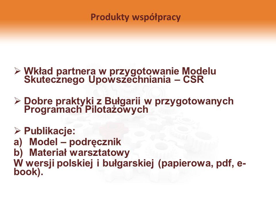 Produkty współpracy Wkład partnera w przygotowanie Modelu Skutecznego Upowszechniania – CSR Dobre praktyki z Bułgarii w przygotowanych Programach Pilo