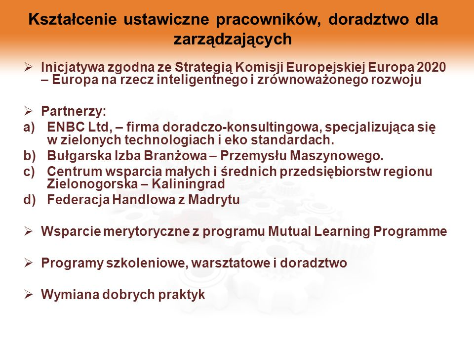 Kształcenie ustawiczne pracowników, doradztwo dla zarządzających Inicjatywa zgodna ze Strategią Komisji Europejskiej Europa 2020 – Europa na rzecz int