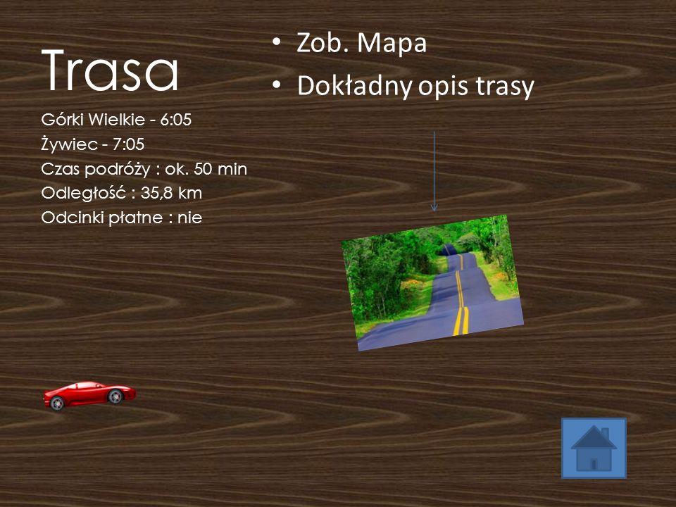Trasa Zob. Mapa Dokładny opis trasy Górki Wielkie - 6:05 Żywiec - 7:05 Czas podróży : ok. 50 min Odległość : 35,8 km Odcinki płatne : nie