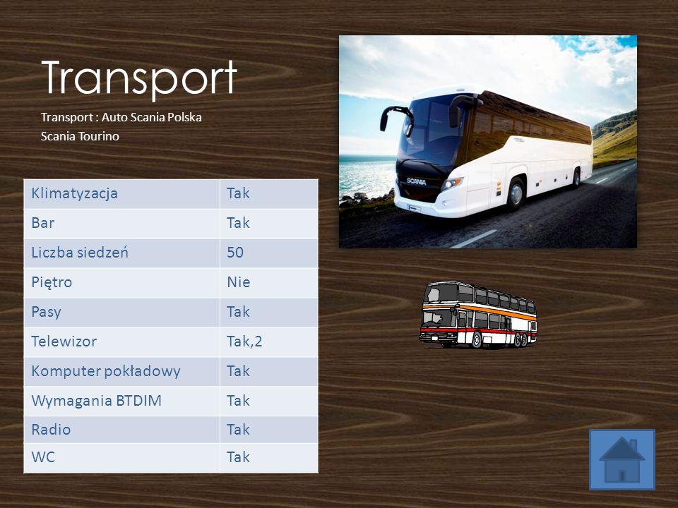 Transport KlimatyzacjaTak BarTak Liczba siedzeń50 PiętroNie PasyTak TelewizorTak,2 Komputer pokładowyTak Wymagania BTDIMTak RadioTak WCTak Transport :