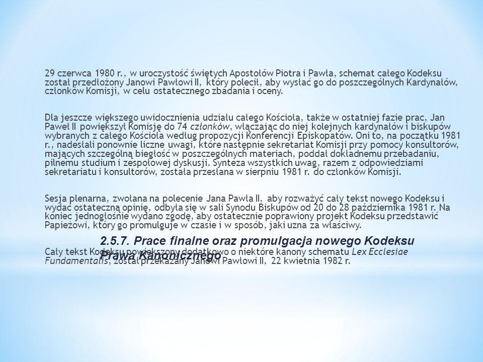2.5.7. Prace finalne oraz promulgacja nowego Kodeksu Prawa Kanonicznego 29 czerwca 1980 r., w uroczystość świętych Apostołów Piotra i Pawła, schemat c