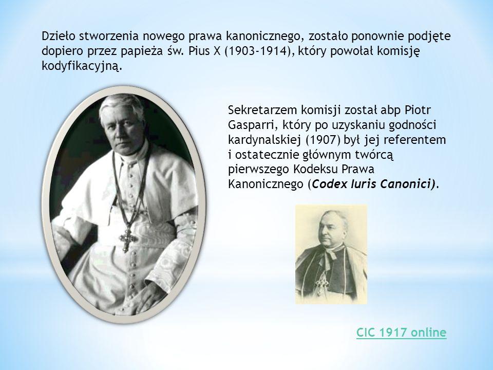 Po śmierci Piusa X, w 1914 r., prace kodyfikacyjne podjął papież Benedykt XV (1914-1922).