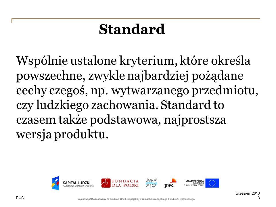 PwC Cechy standardu Zapewniają realizację celu Informują Gwarantują jakość Narzucone prawnie i dobrowolnie Powielanie zadań, powtarzalność Pozwalają na spełnienie określonych wymogów 4 wrzesień 2013