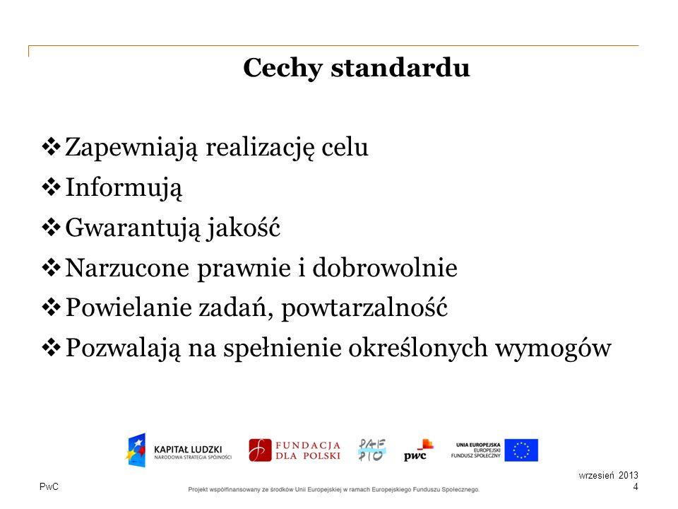 PwC Cechy standardu Zapewniają realizację celu Informują Gwarantują jakość Narzucone prawnie i dobrowolnie Powielanie zadań, powtarzalność Pozwalają n
