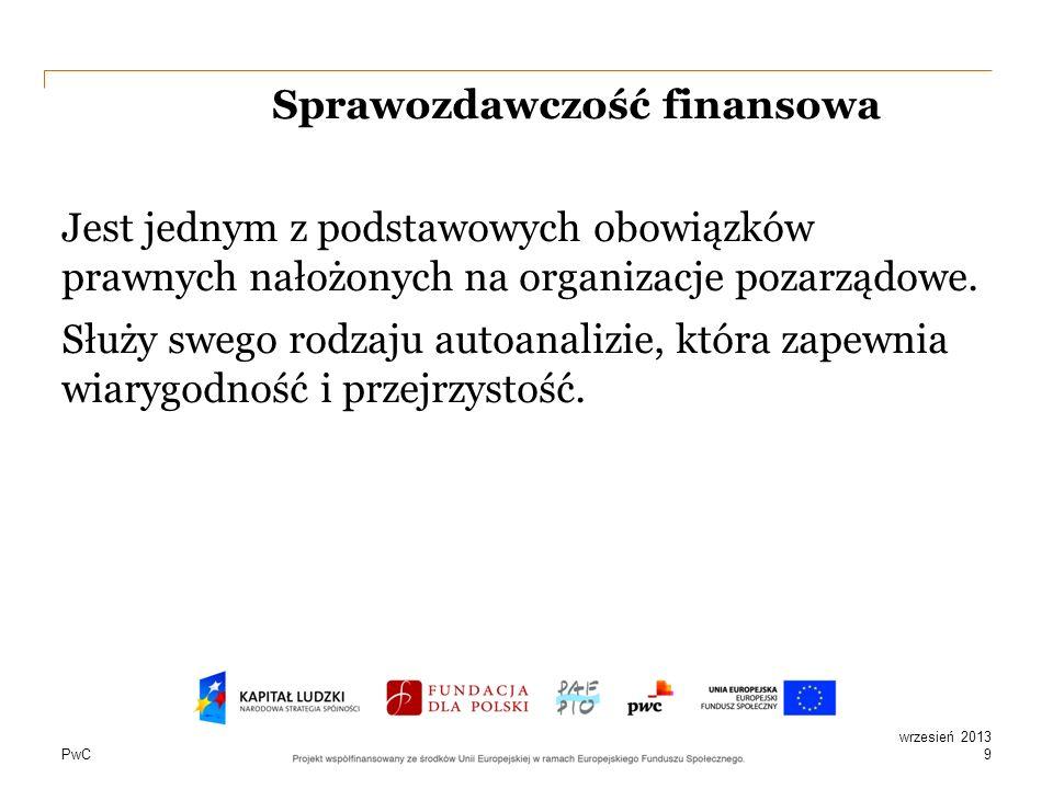 PwC Sprawozdawczość finansowa Jest jednym z podstawowych obowiązków prawnych nałożonych na organizacje pozarządowe. Służy swego rodzaju autoanalizie,