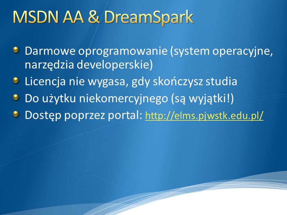 Darmowe oprogramowanie (system operacyjne, narzędzia developerskie) Licencja nie wygasa, gdy skończysz studia Do użytku niekomercyjnego (są wyjątki!) Dostęp poprzez portal: http://elms.pjwstk.edu.pl/ http://elms.pjwstk.edu.pl/