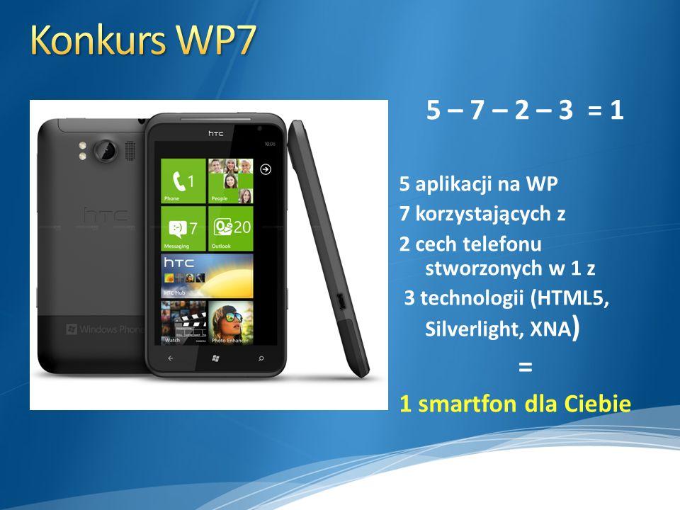 5 – 7 – 2 – 3 = 1 5 aplikacji na WP 7 korzystających z 2 cech telefonu stworzonych w 1 z 3 technologii (HTML5, Silverlight, XNA ) = 1 smartfon dla Cie