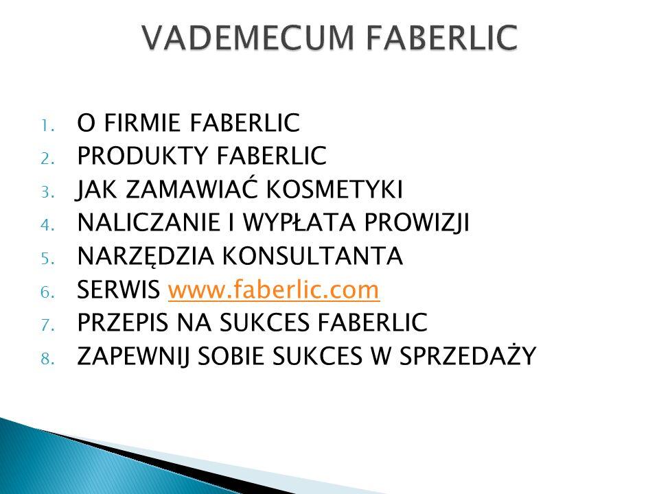 1. O FIRMIE FABERLIC 2. PRODUKTY FABERLIC 3. JAK ZAMAWIAĆ KOSMETYKI 4. NALICZANIE I WYPŁATA PROWIZJI 5. NARZĘDZIA KONSULTANTA 6. SERWIS www.faberlic.c