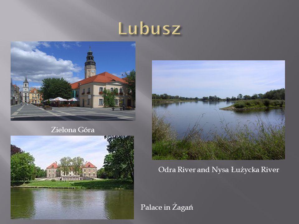Zielona Góra Palace in Żagań Odra River and Nysa Łużycka River