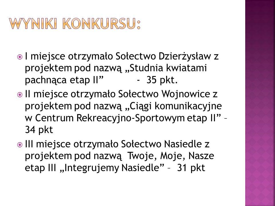 I miejsce otrzymało Sołectwo Dzierżysław z projektem pod nazwą Studnia kwiatami pachnąca etap II - 35 pkt.