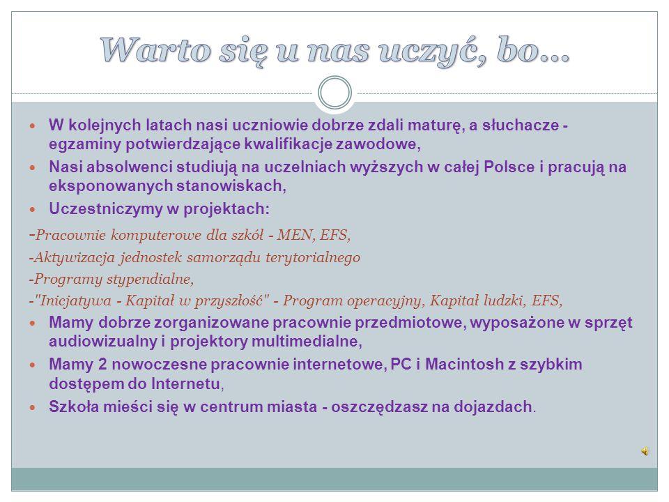 Liceum Ogólnokształcące Rozszerzenie przedmiotów: Język Polski, Język Angielski, Matematyka.