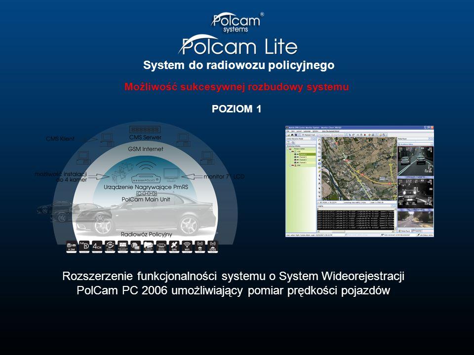System do radiowozu policyjnego Możliwość sukcesywnej rozbudowy systemu POZIOM 1 Rozszerzenie funkcjonalności systemu o System Wideorejestracji PolCam