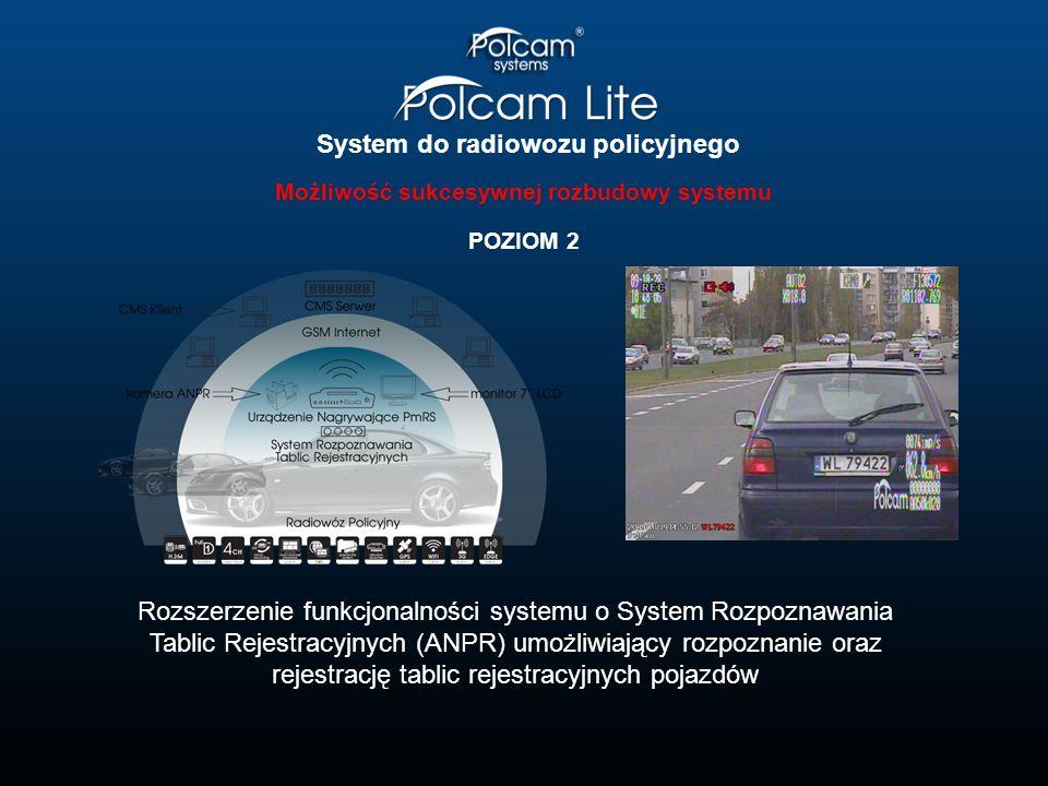 System do radiowozu policyjnego Możliwość sukcesywnej rozbudowy systemu POZIOM 3 Rozszerzenie funkcjonalności systemu o System Rozpoznawania Tablic Rejestracyjnych (ANPR) oraz System Wideorejestracji PolCam PC 2006