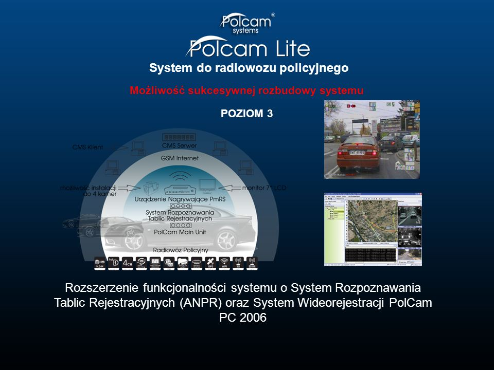 System do radiowozu policyjnego Możliwość sukcesywnej rozbudowy systemu POZIOM 3 Rozszerzenie funkcjonalności systemu o System Rozpoznawania Tablic Re