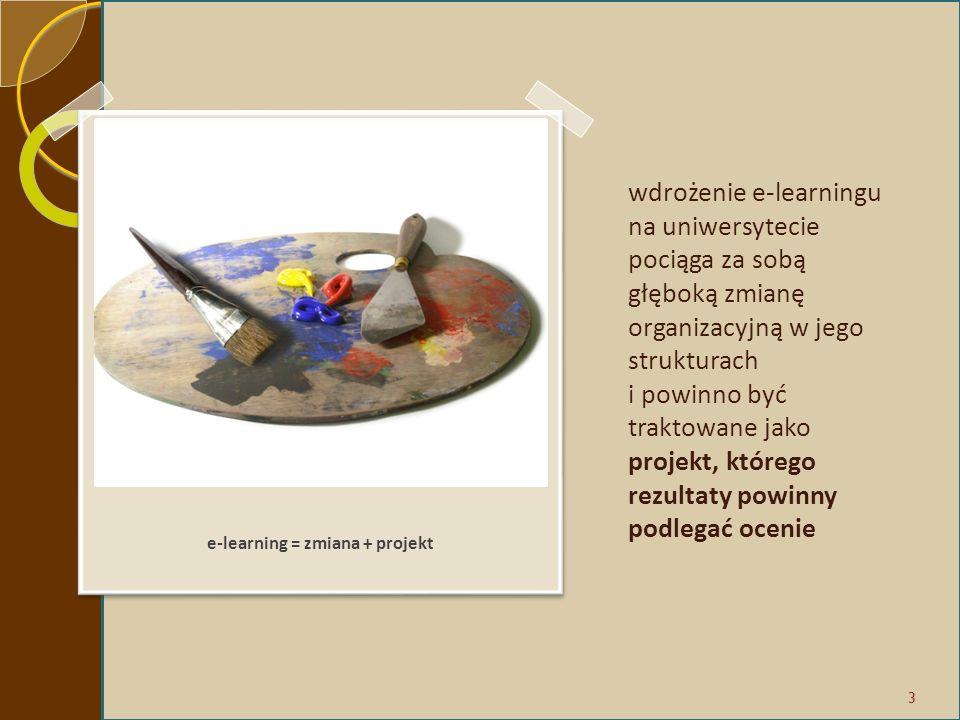 wdrożenie e-learningu na uniwersytecie pociąga za sobą głęboką zmianę organizacyjną w jego strukturach i powinno być traktowane jako projekt, którego