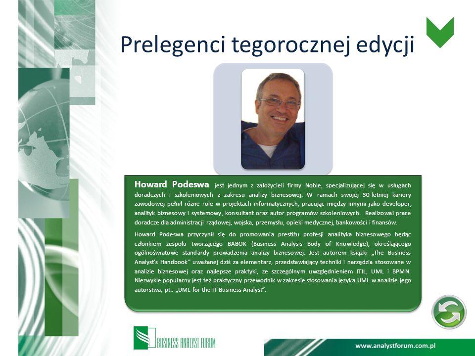 Prelegenci tegorocznej edycji Howard Podeswa jest jednym z założycieli firmy Noble, specjalizującej się w usługach doradczych i szkoleniowych z zakres