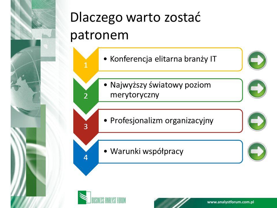 Dlaczego warto zostać patronem 1 Konferencja elitarna branży IT 2 Najwyższy światowy poziom merytoryczny 3 Profesjonalizm organizacyjny 4 Warunki wspó