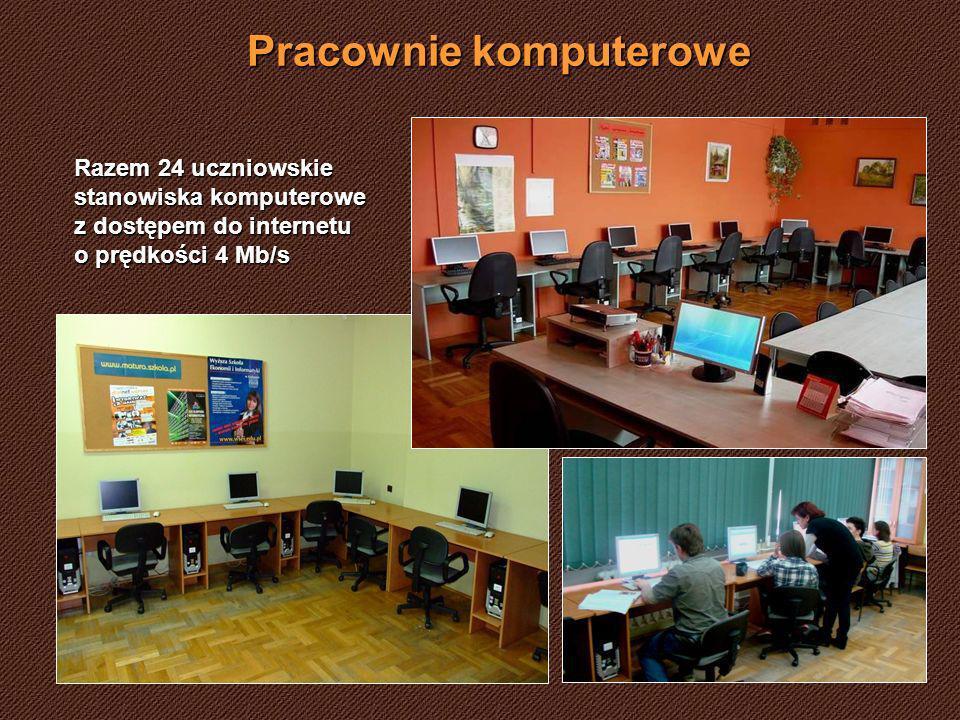Pracownie komputerowe Razem 24 uczniowskie stanowiska komputerowe z dostępem do internetu o prędkości 4 Mb/s