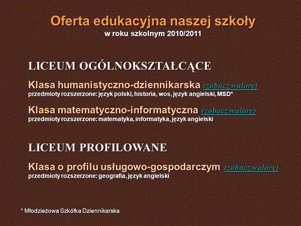 Oferta edukacyjna naszej szkoły w roku szkolnym 2010/2011 LICEUM OGÓLNOKSZTAŁCĄCE Klasa humanistyczno-dziennikarska (zobacz walory) przedmioty rozszerzone: język polski, historia, wos, język angielski, MSD* (zobacz walory) (zobacz walory) Klasa matematyczno-informatyczna (zobacz walory) przedmioty rozszerzone: matematyka, informatyka, język angielski (zobacz walory) (zobacz walory) LICEUM PROFILOWANE Klasa o profilu usługowo-gospodarczym (zobacz walory) przedmioty rozszerzone: geografia, język angielski (zobacz walory) (zobacz walory) * Młodzieżowa Szkółka Dziennikarska