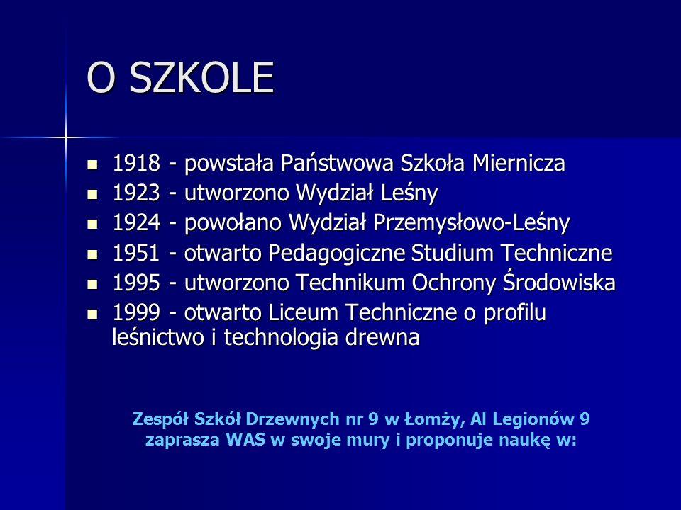 O SZKOLE 1918 - powstała Państwowa Szkoła Miernicza 1918 - powstała Państwowa Szkoła Miernicza 1923 - utworzono Wydział Leśny 1923 - utworzono Wydział