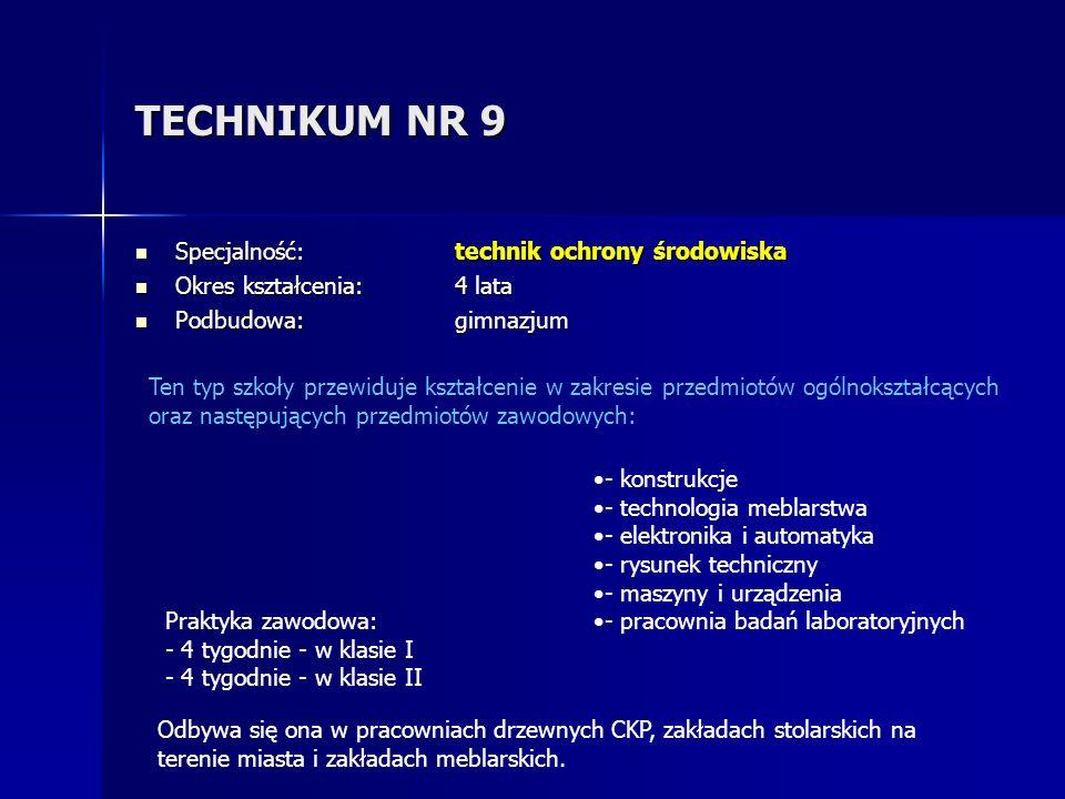 TECHNIKUM NR 9 Specjalność: technik ochrony środowiska Specjalność: technik ochrony środowiska Okres kształcenia: 4 lata Okres kształcenia: 4 lata Pod