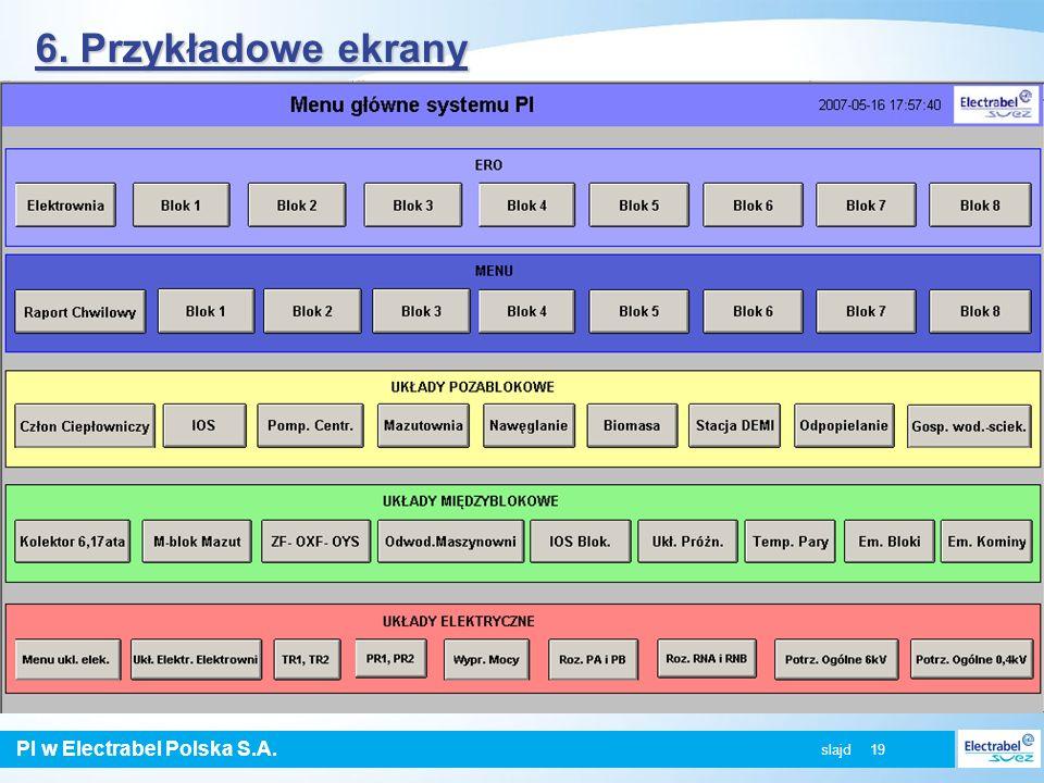 PI w Electrabel Polska S.A. slajd 19 6. Przykładowe ekrany