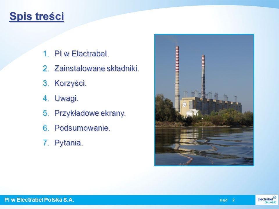 PI w Electrabel Polska S.A. slajd 2 Spis treści 1.PI w Electrabel. 2.Zainstalowane składniki. 3.Korzyści. 4.Uwagi. 5.Przykładowe ekrany. 6.Podsumowani