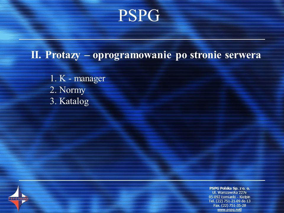 PSPG II. Protazy – oprogramowanie po stronie serwera 1. K - manager 2. Normy 3. Katalog PSPG Polska Sp. z o. o. Ul. Warszawska 227e 05-092 Łomianki –