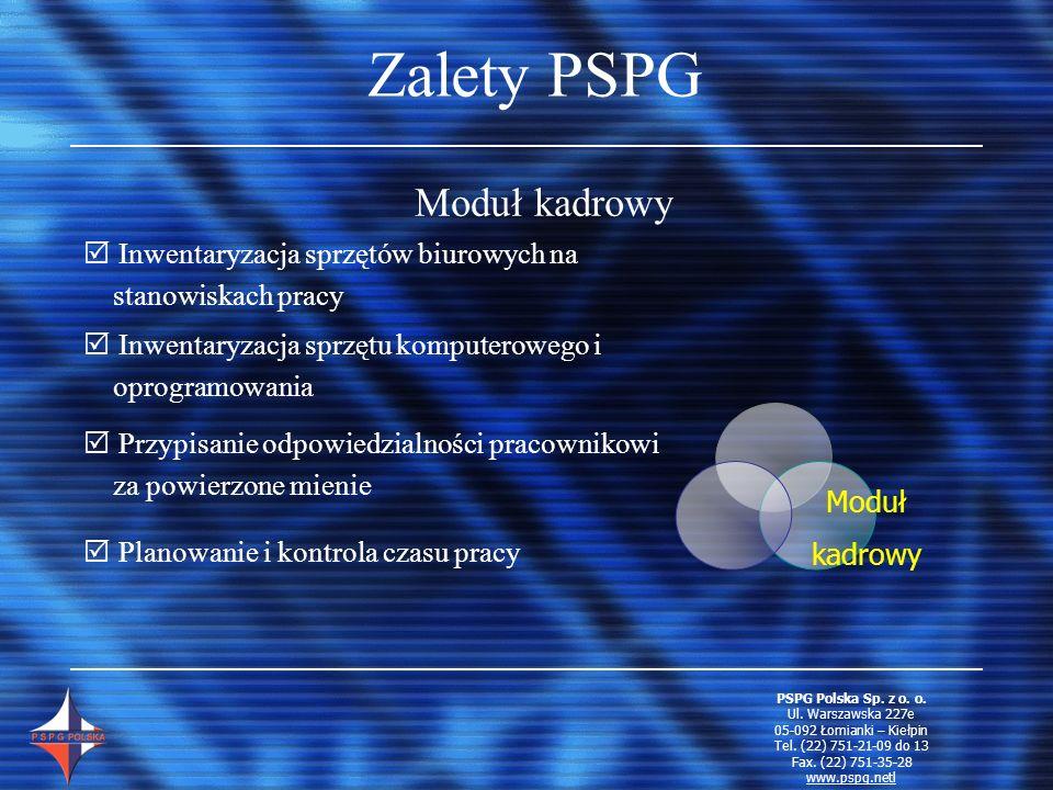 Zalety PSPG Moduł kadrowy Moduł kadrowy I nwentaryzacja sprzętów biurowych na stanowiskach pracy I nwentaryzacja sprzętu komputerowego i oprogramowani